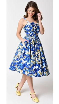 Unique Vintage 1950s Blue & Yellow Floral Golightly Swing Dress