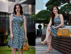 Vintage pin-up green a line dress, vintage handbag, summer, curvy blogger, pear shaped, sammydress