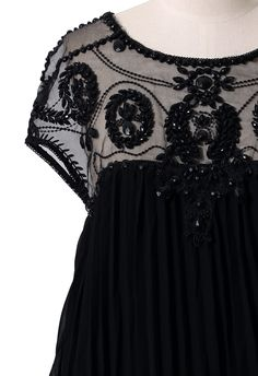 Beads Embellished Pleated Dolly Dress in Black - Dress - Retro, Indie and Unique Fashion 54