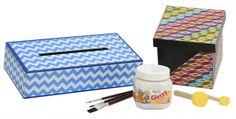 ¡Nuevo Pegamento Glossy! Ideal para madera, papel, unicel, etc. De venta en Fantasías Miguel / Cajas forradas con Scrapbook