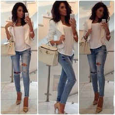 dressy casual outfit…love a white blazer that fits well!