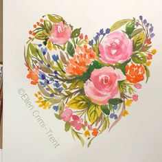 Watercolor floral heart Playing with color and shape Watercolor Painting Techniques, Watercolor Video, Watercolor Heart, Floral Watercolor, Watercolor Paintings, Gouache Painting, Watercolor Flowers Tutorial, Watercolour Flowers, Floral Paintings