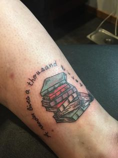 My awesome book lover tattoo done at ink ink in Springfield Missouri. #booklover #livesthousandslives