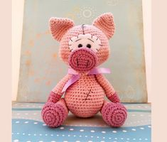 Crochet PATTERN amigurumi pig Crochet Pig, Crochet Patterns Amigurumi, Cute Crochet, Crochet Animals, Hand Crochet, Crochet Toys, Small Pigs, Cute Pigs, Types Of Yarn