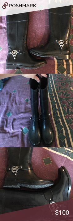 Michael Kors Rainboots Michael Kors Rainboots. Great Condition, as been worn only a couple of times. Goes right up the calf, below the knee. Michael Kors Shoes Winter & Rain Boots