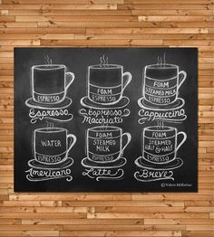 Guide To Coffee Drinks Chalkboard Art Kit | Art Prints | Lily & Val | Scoutmob Shoppe | Product Detail