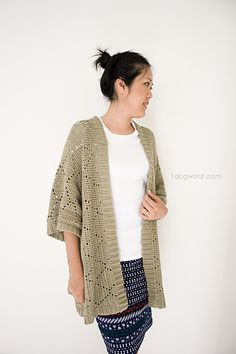 FREE Crochet Pattern: This light and airy kimono cardigan is perfect for work or for later in the evenings when you head out on to the town. Not too lacy, not too fancy, but just nice enough to dress up a simple outfit. It uses a simple diamond motif and is worked with very little joining of pieces.