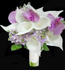 Off White Callas, Lilac Orchids and Lavender Hydrangeas Bouquet