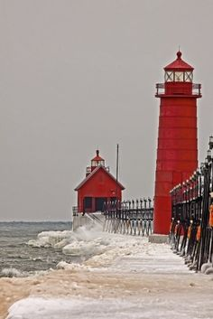 Red lighthouse by Caught my eye