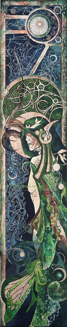 Fantasy Art Nouveau Painting - Druidess ( 12 x 36 ). $60.00, via Etsy.