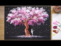 'Tree of Stars' Acrylic Painting Technique 'Tree of Stars' Acrylic Painting Technique # 345 - Y Q Tip Painting, Acrylic Painting Techniques, Heart Painting, Oil Painting Flowers, Cherry Blossom Painting, Watercolor Artists, Tree Art, Art Tutorials, Art Projects