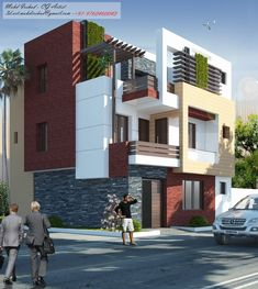 Residence Design For Moradabad . Flat House Design, Home Stairs Design, House Front Design, Modern House Design, Contemporary House Plans, Modern House Plans, Modern Bungalow Exterior, Modern Balcony, Independent House