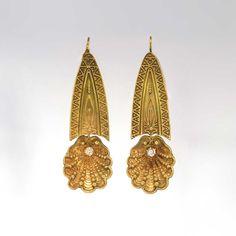 Gorgeous Victorian Shell Motif Old Mine Cut Diamond Chandelier Earrings 14k | Antique & Estate Jewelry | Jewelry Finds SOLD: 12/29/14