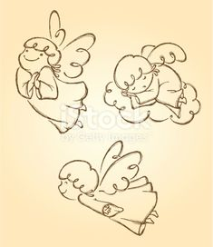 Embroidery Patterns Set di angeli carini 2 illustrazione royalty-free - Adorable angel in different pose. Derived from my artwork, properly grouped with high resolution jpg. Angel Sketch, Angel Drawing, Christmas Rock, Christmas Crafts, Engel Illustration, Desenho Kids, Embroidery Patterns, Hand Embroidery, Art Picasso