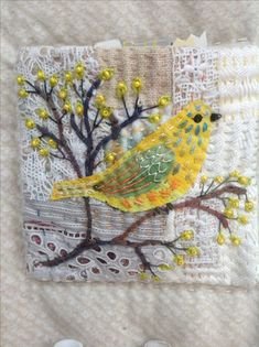 Bird Embroidery by Debbie Irving Sashiko Embroidery, Bird Embroidery, Embroidery Patterns, Machine Embroidery, Fabric Birds, Fabric Art, Fabric Crafts, Boro Stitching, Bird Applique