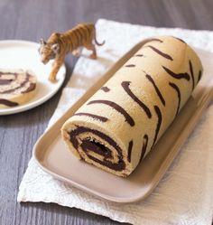 Gâteau roulé imprimé tigre, la recette d'Ôdélices : retrouvez les ingrédients, la préparation, des recettes similaires et des photos qui donnent envie !