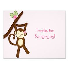Girly Monkey Jungle Thank You Note Card Flat Announcements