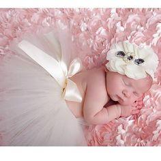 Newborn Handmade Tutu Skirt with Flower Headband