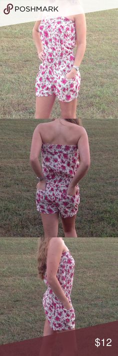 Cute floral romper Brand new flirty staples floral romper. Front and back pockets. Elastic around waist hugs nicely and flatters your figure. Size Large. From a smoke free home. Other