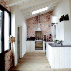 brick floor interior | Brick, skylight, reclaimed floors. | Home Ideas