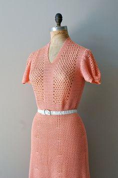 1930s Coral Gables crochet dress | http://www.etsy.com/listing/99669121/crochet-dress-1930s-dress-30s-knit-dress #vintage #vintagedress