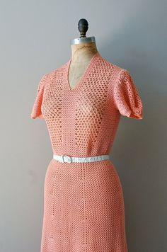 1930s Coral Gables crochet dress | http://www.etsy.com/listing/99669121/crochet-dress-1930s-dress-30s-knit-dress #vintage #vintagedress