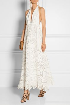Valentino Broderie anglaise linen halterneck gown