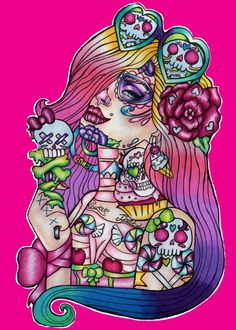 Sweet Tooth STRETCHED CANVAS  print  Ombre Hair Day by Pajamasquid, $69.00