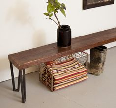 Bench 6' Long - Reclaimed Wood and Solid Steel by Dylan Design Company. $485.00, via Etsy.