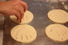 Hand or footprint ornaments Ingredients: 4 cups flour, 1 cup salt, 1 1/2 cups water. Knead dough for 15 to 20 minutes. Add imprints. Bake at 300ºF about 20 to 25 minutes or until golden