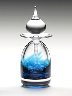 Art Glass Facet Perfume Bottle: Ocean