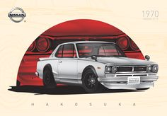 NISSAN Skyline GT-R HAKOSUKA (1970's)   High Detailed Illustration Created by Ömer Faruk AYRANCI