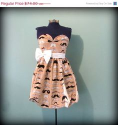 Spring Sale Womens Mustache Print Party Dress di offbeatvintage, $66.60