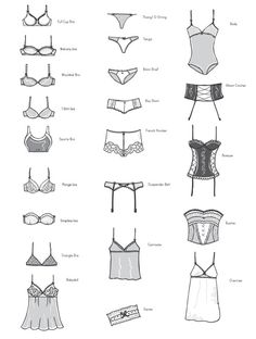 A visual glossary of lingerie More Visual Glossaries (for Her): Backpacks / Bags / Bobby Pins / Boots / Bra Types / Hats / Belt knots / Chain Types / Coats / Collars / Darts / Dress Shapes
