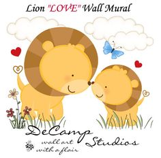 Lion LOVE Wall Art Mural Decal for baby girl boy nursery or kids room decor. This adorable mural of a loving lion family in the spring meadow #decampstudios