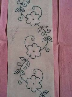 Border Embroidery Designs, Embroidery Flowers Pattern, Paper Embroidery, Embroidery Patterns Free, Crewel Embroidery, Floral Embroidery, Beadwork Designs, Brazilian Embroidery, Fabric Painting