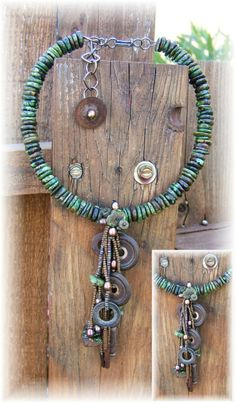 Cindy Chavez....Green Turquoise, old washers and metal bits..vintage key