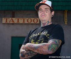 A street portrait outside #Baltimore Tattoo Museum -  #streetamatic #streetphotography #streettogs #tattoo #photo