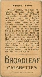 1912 Brown Backgrounds T207 #159 Vic Saier Back