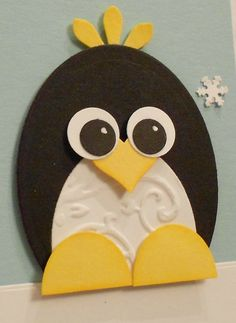 handmade greeting card ... adorable punch art penguin  fills the front ...