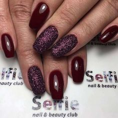 Burgundy Glitter Nails #fallnails #thanksgiving