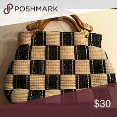 Selling this Wheat and Navy Woven Straw Purse on Poshmark! My username is: petunias852. #shopmycloset #poshmark #fashion #shopping #style #forsale #Handbags