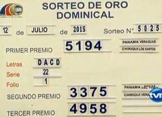 Resultados Loteria de Panama domingo 12 de Julio 2015