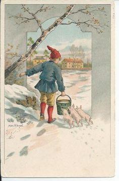 Max Hänel Julkort Tomte nisse med hink gris kultingar pg 1907 KV 7 på