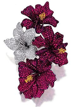 http://rubies.work/0349-sapphire-ring/ Ruby and Diamond Brooch, 'Hibiscus', Michele Della Valle More