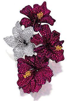 Ruby and Diamond Brooch, 'Hibiscus', Michele Della Valle