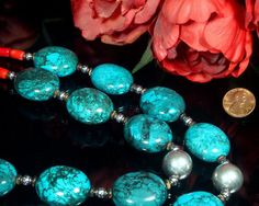 Turquoise Statement Necklace Turquoise and by ByDivineCollectibles