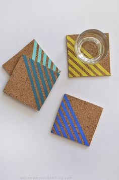 Colorful Striped Coasters with #marthastewartcrafts paint