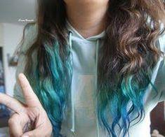 Image result for blue dip dyed hair on brown hair medium