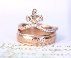gorgeous fleurs de lis 14kt rose gold diamond by itsalittlething, $798.00